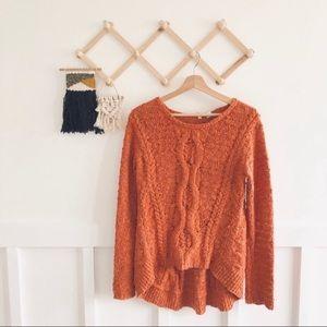 Anthro. Moth | Orange Micro Popcorn Knit Sweater